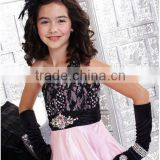 One shoulder black lace custom-made ball gown skirt pink little girls pageant dresses CWFaf4801