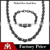 Factory Directly Mens Punk Jewelry Sets Stainless Steel Black Plated Necklace Link Chain Bracelet