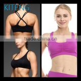 Kiteng high quality Sport Bra with couble straps crisscross in the front wicking fabric and padding Office In United States