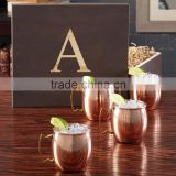 Packaging available Set of 4 Pure Copper Beer Mug with Black Gift Box , Hammered Copper Mugs with Black Gift Box