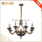 Luxury Brass European Design 8 Light Chandelier, Antique Porcelain Bronze Pendant Lighting