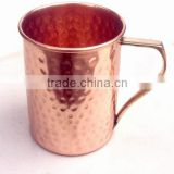 BPA FREE HAMMERED FINISH MOSCOW MULE SOLID COPPER STRAIGHT MUG WITH BRASS HANDLE, MOSCOW MULE COPPER MUGS, INDIAN COPPER MUGS