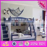 2016 high quality comfortable children wooden bunk beds for sale W08H030