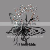 Butterfly rhinestone transfer with laser cutting leather