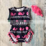new arrival baby girls Summer clothing infant romper tutu cotton baby navy hot pink whale girls romper with match headband