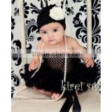 Baby Girls Black Crochet Tube Top NB-12M