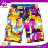 Summer Casual Style Cotton Printed Canvas Short Design Colorful Men Beach Pants