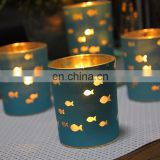 Cute Blue Plating Little Fish Glass Votive Tea Light Holder Glass Candle Holder For Wedding Party Gifts Home Decoration