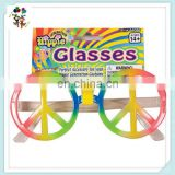 Plastic Funny Hippie Fancy Costume Rainbow Peace Party Glasses HPC-0622
