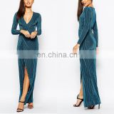 Oem service fashion front wrap style women plunge v-neckline maxi evening dressed sexy girl party dress