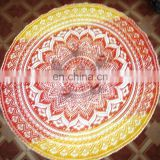 Indian Hippie Ombre Table Cover Round Cotton Table Cloth Beach Yoga Mat Mandala Tapestry