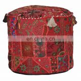 Patchwork Ottoman Pouf Cover Indian Comfortable Work Ottoman Cotton Pouf Cover embroired Living Room Ottoman Cover wholesale Lot