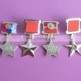 plating silver russia CCCP star ribbon medal badge