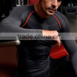 Hot sale high quality Men compression sport wear sweat-absorption and flash drying long sleeve tight shirt