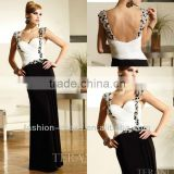 Beautiful Sweetheart With Crystal On The Strap Chiffon Low Back Black And White Evening Dresses