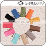 colorful exotic ostrich skin leather clutch wallet lady long triple wallet purse wholesale