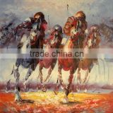new handmade horse riding wall art canvas oil painting 50*60cm JH-323 wholesale cheapest factory direct