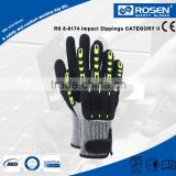 RS SAFETY Full palm nitrile coated glove and plastic knuckle sewn in High impact protective gloves