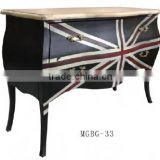 Wood Side Distressed black French Furniture UK flag drawers chest