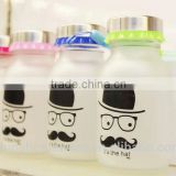 2014year wholesale sealing up lovely mustache water frosted glass bottle student carrying bottles