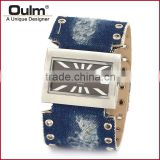 2015 Oulm ultrathin couple watches, vintage denim women watch, students digital man watch
