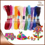 Children diy use buff craft paper raffia rope 20m with 12 colors