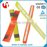 orange yellow Hi-Viz high visibility reflective seat belt cover with reflective tape and hook and loop closure