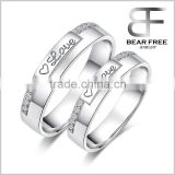 "Wholesale 2015 fashion Fine Cubic Zirconia Silver ""LOVE"" Couples Finger Ring Jewelry"