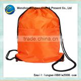 orange backpack drawstring polyester foldable laundry bag
