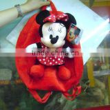 Stuffed and promotional soft minnie mouse animal toy plush backpack with pompom for children