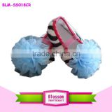 2015 Fashion Zebra Stripe Baby Shoes cute sky blue Flower Baby Girls Shoes