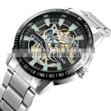 SKONE S80010 over sized stainless steel chain automatic mechanical skeleton watch                                                                                                         Supplier's Choice