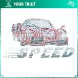 Fast And Furious Hot Pink Sportcar Need for Speed Hot Fix Motif Iron On Rhinestone Transfer