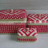Handicraft Vietnam hand woven bamboo box, cheap bamboo basket set of 3 for storage and decoration