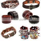 custom new hot sale high quality fashion mix styles bio magnetic ladys mens leather bracelet