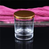 8090 thick bottom clear glass scented candle cups with metal cap