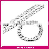 most popular stainless steel cuban chain bracelet necklace set
