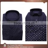Tailored slim fit black dots cotton men clothing fashion shirt 2016                                                                         Quality Choice