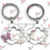 Silver Flower With Butterfly Charms Metal Keychain(KR16011501)