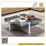 functional square wood coffee table with four drawers black high gloss