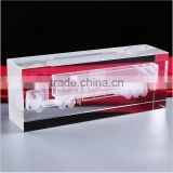 12cm Romantic Clear Engraved Crystals Love Cube For Wedding Table Decoration