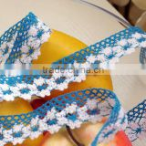 Blue - white cotton lace ribbon accesory c250104