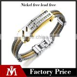 Classic two tone crystal wire bracelet jewelry stainless steel watch bangle for men