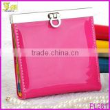 Korean Fashion Candy Color Lady Wallet Multifunction PU Leather Button Purse Small Clutch Wallet Bag