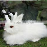 Furry Animal Taxidermy White Snowy Jackalope Lying Rabbit Horns Easter Bunny
