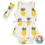 wholesale new born clothes pineapple prints elastic waist sleeveless pom pom baby girls rompers