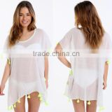 Factory Wholesale Clothing Swimwear Beachwear Bikini Beach Wear Cover Up Kaftan White Summer Chiffon Blouse With Tassel
