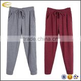 Ecoach Wholesale OEM Unisex Casual Three Pockets Elastic Drawstring Wide Waist Banded Bottom Plain Color Pajama Pants