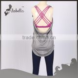 Singlet with contrast sports bra melange polyester spandex for women