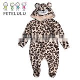 Petelulu China Winter Long Sleeve Coral Velvet Plush Animal Baby Romper Sets Custom Climb Suit Wholesale Baby Clothes